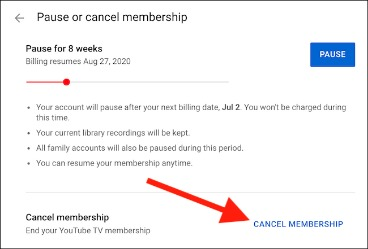 cancel youtube tv trial